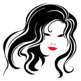美丽的头发长的葡萄酒妇女 免版税库存照片