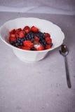 美丽的水多的自然有机莓,黑莓,蓝莓 免版税库存照片