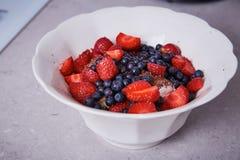 美丽的水多的自然有机莓,黑莓,蓝莓 免版税图库摄影