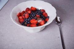 美丽的水多的自然有机莓,黑莓,蓝莓 库存照片