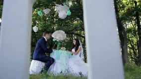 美丽的年轻夫妇新娘和新郎在桌上 影视素材