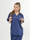 美丽的年轻女性医疗保健专家 库存照片