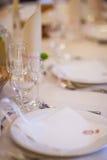美丽的结婚宴会桌装饰 免版税库存图片