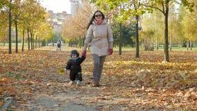 美丽的婴孩充当有她的母亲的秋天公园关于下落的叶子 孩子在衣服温暖地打扮和 股票视频