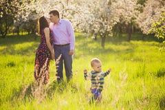 美丽的年轻家庭获得乐趣在春天开花的庭院 免版税库存图片