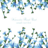 美丽的水彩蓝色花 免版税库存照片