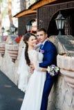 美丽的年轻新娘和新郎在石墙附近在公园 库存图片