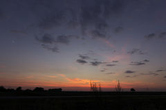 美丽的黎明天空木星和金星契合 图库摄影