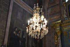 美丽的水晶枝形吊灯在教会里 库存照片