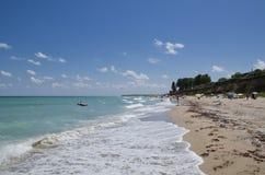 美丽的黑海海滩,沙布拉,保加利亚 库存照片