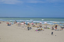 美丽的黑海海滩,沙布拉,保加利亚 免版税库存照片