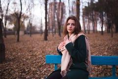美丽的年轻深色的妇女坐一条长凳在秋天公园 库存图片