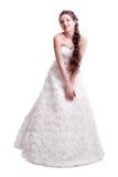 美丽的年轻深色的妇女新娘画象白色Weddi的 免版税图库摄影