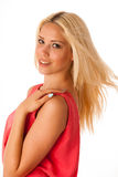 美丽的年轻白肤金发的妇女演播室画象 库存图片
