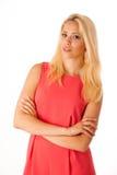 美丽的年轻白肤金发的妇女演播室画象 免版税库存照片