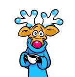 美丽的滑稽的鹿咖啡动画片 免版税库存图片