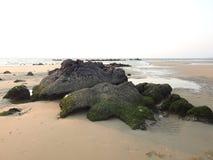 美丽的绿色岩石, Redi海滩 库存照片