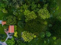 美丽的绿色庭院的顶视图空中射击 库存图片