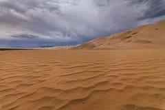 美丽的黄色沙丘在沙漠 戈壁 免版税图库摄影