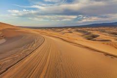 美丽的黄色沙丘在沙漠 戈壁 免版税库存图片