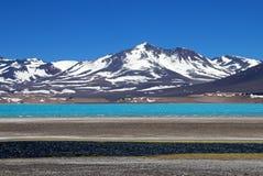 美丽的绿色盐水湖,在山口旧金山和Nevado Ojos台尔Salado附近的拉古纳Verde,阿塔卡马,智利 图库摄影