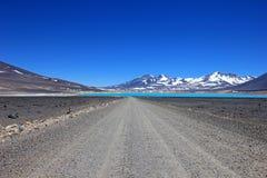 美丽的绿色盐水湖,在山口旧金山和Nevado Ojos台尔Salado附近的拉古纳Verde,阿塔卡马,智利 免版税库存图片