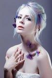 美丽的蝴蝶女孩 创造性组成 与定调子的画象 免版税库存图片