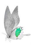 美丽的蝴蝶的黑白图象与五颜六色的翼的 库存照片
