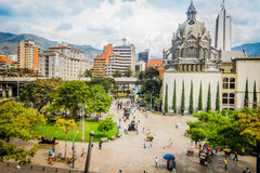 美丽的Botero广场在麦德林市,哥伦比亚 库存照片