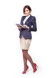 美丽的businesswoma全长纵向 免版税图库摄影