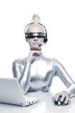 美丽的cyber妇女 免版税库存照片