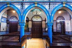 美丽的El Ghriba犹太教堂的看法在豪迈特苏格,突尼斯 免版税库存图片