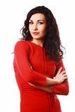 美丽的flirty深色的妇女 免版税库存照片