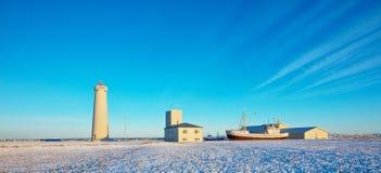 美丽的Gardur灯塔在冰岛 库存图片