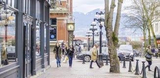 美丽的Gastown区在温哥华-历史的老镇-温哥华-加拿大- 2017年4月12日 库存照片