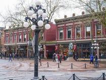 美丽的Gastown在温哥华-历史的区-温哥华-加拿大- 2017年4月12日 库存照片