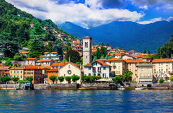 美丽的Lago二的科莫风景村庄Torno,在意大利北部 免版税图库摄影