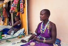 美丽的masaai妇女 免版税库存照片