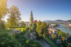 美丽的Muellner教会在历史名城萨尔茨堡,奥地利 免版税库存照片