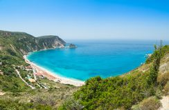 美丽的Myrtos海滩, Kefalonia,希腊 免版税库存图片