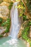 美丽的Neda瀑布在伯罗奔尼撒希腊 自然著名奇迹  免版税库存图片
