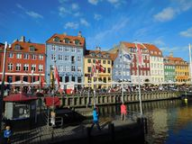 美丽的Nyhavn在哥本哈根 免版税库存照片
