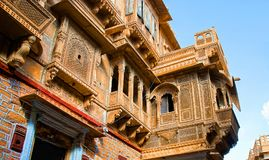 美丽的Patwon ki Haveli宫殿, Jaisalmer,印度 免版税库存图片