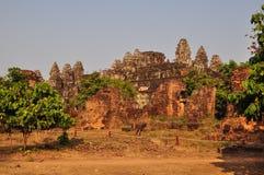 美丽的Phnom Bakheng在吴哥,柬埔寨 免版税图库摄影