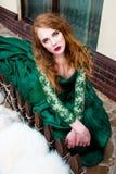 美丽的redhair女孩喜欢公主 免版税图库摄影