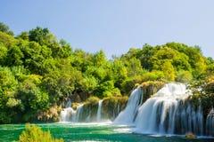 美丽的Skradinski Buk瀑布在Krka国家公园-达尔马提亚,克罗地亚 免版税库存照片