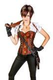 美丽的steampunk妇女佩带的葡萄酒束腰和减速火箭的goggl 免版税库存照片