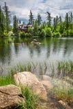 美丽的Strbske普莱索和山湖在夏天 免版税库存图片