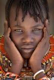 美丽的Turkana女孩在Loyangalani,肯尼亚 库存照片