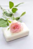 美丽,桃红色玫瑰和肥皂 库存图片